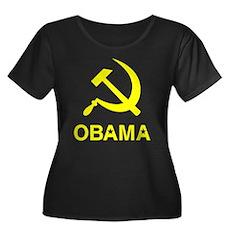 Socialist Obama Womens Plus Size Scoop Neck Dark