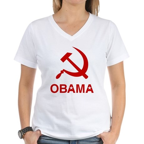 Socialist Obama Womens V-Neck T-Shirt