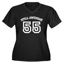 Still Awesome 55 Women's Plus Size V-Neck Dark T-S