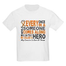 HERO Comes Along 1 Cousin LEUKEMIA T-Shirt