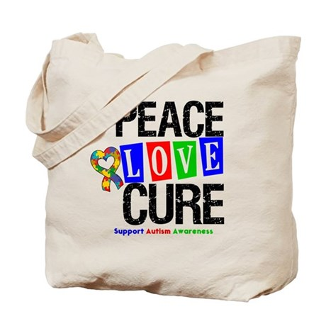 Autism PeaceLoveCure Tote Bag