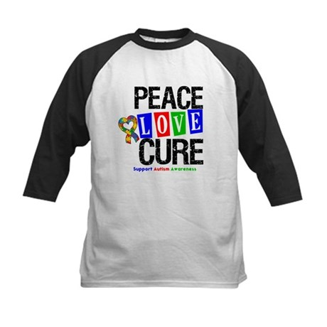 Autism PeaceLoveCure Kids Baseball Jersey