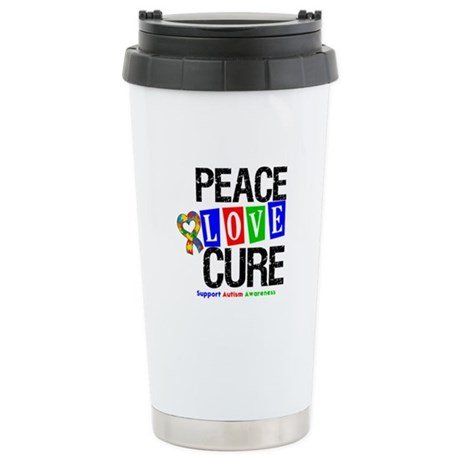 Autism PeaceLoveCure Ceramic Travel Mug