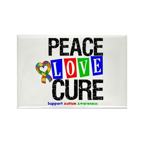 Autism PeaceLoveCure Rectangle Magnet