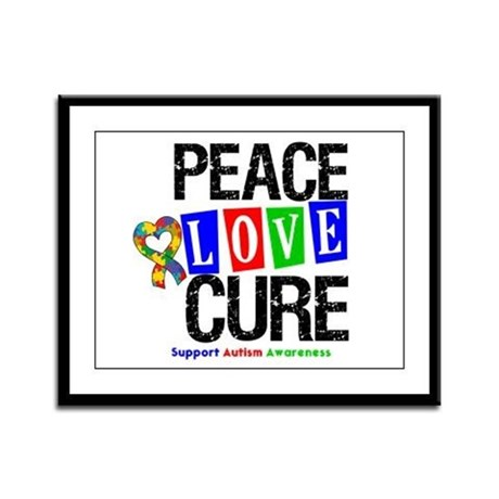 Autism PeaceLoveCure Framed Panel Print