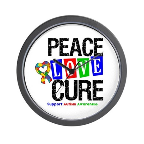 Autism PeaceLoveCure Wall Clock