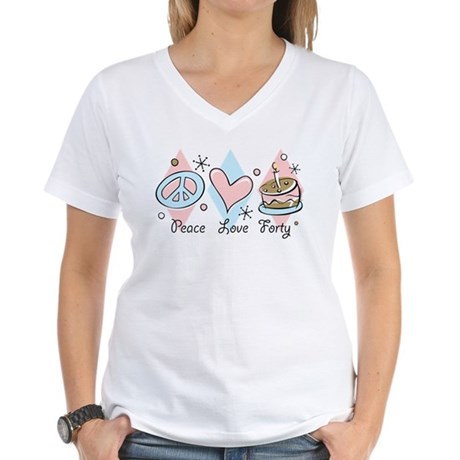 Peace Love 40 Women's V-Neck T-Shirt