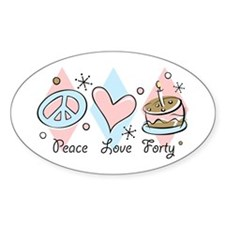 Peace Love 40 Oval Decal
