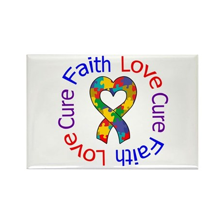 Autism FaithLoveCure Rectangle Magnet