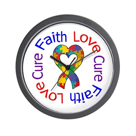 Autism FaithLoveCure Wall Clock