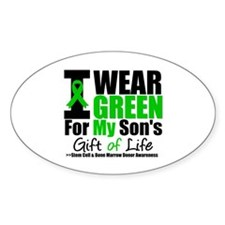 I Wear Green For My Son Oval Sticker (50 pk)