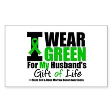 I Wear Green For My Husband Rectangle Decal
