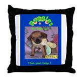 My puggle is cuter Throw Pillow