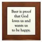 funny Beer &amp; God Framed Tile