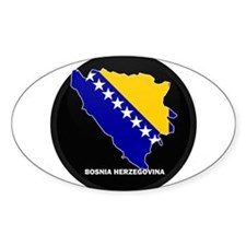 Flag Map of Bosnia and Her Oval Decal