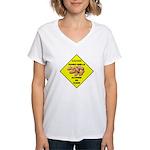 Cautions Peanuts On Floor Women's V-Neck T-Shirt
