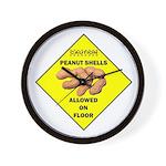 Cautions Peanuts On Floor Wall Clock