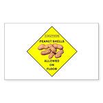 Cautions Peanuts On Floor Rectangle Sticker 50 pk