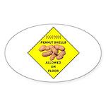 Cautions Peanuts On Floor Oval Sticker (10 pk)