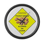 Cautions Peanuts On Floor Large Wall Clock