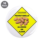 """Cautions Peanuts On Floor 3.5"""" Button (10 pac"""