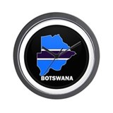 Flag Map of Botswana Wall Clock