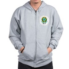 Brazilian Coat of Arms Seal Zip Hoodie