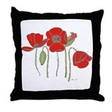 Red Poppies Art Throw Pillow