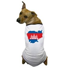 Cambodia Flag Map Dog T-Shirt