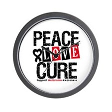 Melanoma PeaceLoveCure Wall Clock