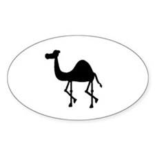 Camel Silhouette Oval Stickers