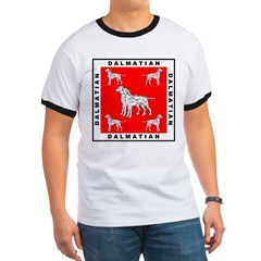 Dalmatian w/Red Background Ringer T