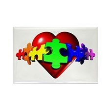 3D Heart Puzzle Rectangle Magnet