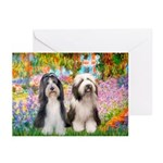 Garden / 2 Bearded Collie Greeting Cards (Pk of 20
