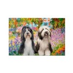 Garden / 2 Bearded Collie Rectangle Magnet