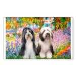 Garden / 2 Bearded Collie Sticker (Rectangle 50 pk