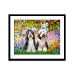 Garden / 2 Bearded Collie Framed Panel Print