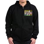 Garden / 2 Bearded Collie Zip Hoodie (dark)