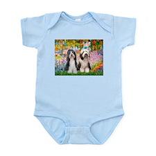 Garden / 2 Bearded Collie Infant Bodysuit