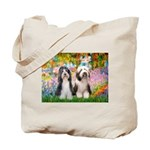Garden / 2 Bearded Collie Tote Bag