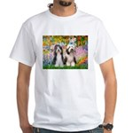 Garden / 2 Bearded Collie White T-Shirt