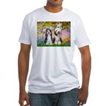 Garden / 2 Bearded Collie Fitted T-Shirt