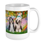 Garden / 2 Bearded Collie Large Mug