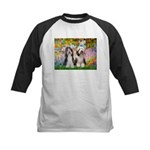 Garden / 2 Bearded Collie Kids Baseball Jersey