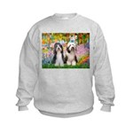 Garden / 2 Bearded Collie Kids Sweatshirt