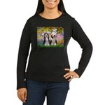 Garden / 2 Bearded Collie Women's Long Sleeve Dark
