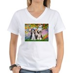 Garden / 2 Bearded Collie Women's V-Neck T-Shirt