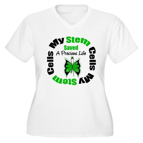 Stem Cells Saved Life Women's Plus Size V-Neck T-S