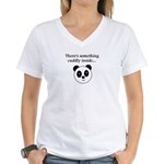 THERE'S SOMETHING CUDDLY INSI Women's V-Neck T-Shi