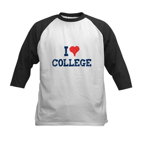 I Love College Kids Baseball Jersey